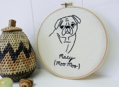 Personalized Pet Portrait. Dogs. Cats. Embroidered Wall Art. Embroidery Hoop Art. Embroidered. Valentines Day Gift for Him. Pug. Bulldog. by BlueLeafBoutique on Etsy