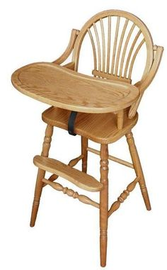 Amish Classic Sheaf Wooden High Chair Add a stunning wood high chair for your little one. Built in solid wood and made in America. Elegant sheaf back, rounded bow top, turned legs and built in comfort and durability. Choose from oak or cherry wood. #highchair