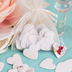 Plantable Heart Shaped Confetti I love this idea to go with our garden theme. Edible Wedding Favors, Wedding Shower Favors, Baby Shower Favors, Bridal Shower, Wedding Table Decorations, Flower Decorations, Rose Wedding, Green Wedding, Seaside Wedding
