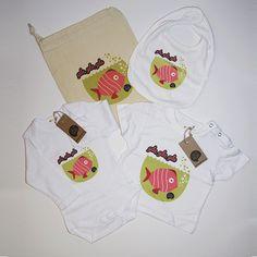 #Pack nacimiento #pez fucsia #body #camiseta #babero #infantil #diseño #personalizado @chussbarranco