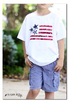 14 4th of July Wearables Tutorials - No sew bandanna flag shirt using Heat n Bond - great for boys!