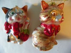 Pair of European Style Hand Blown Glass Kitty Cat Tree Ornaments | eBay