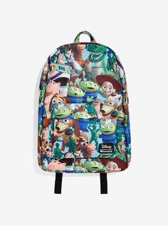 Bring your favorite Toy Story toys to school on an all-over printed backpack.