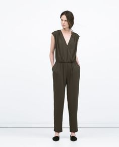 Image 1 of GATHERED CROSSOVER TOP JUMPSUIT from Zara