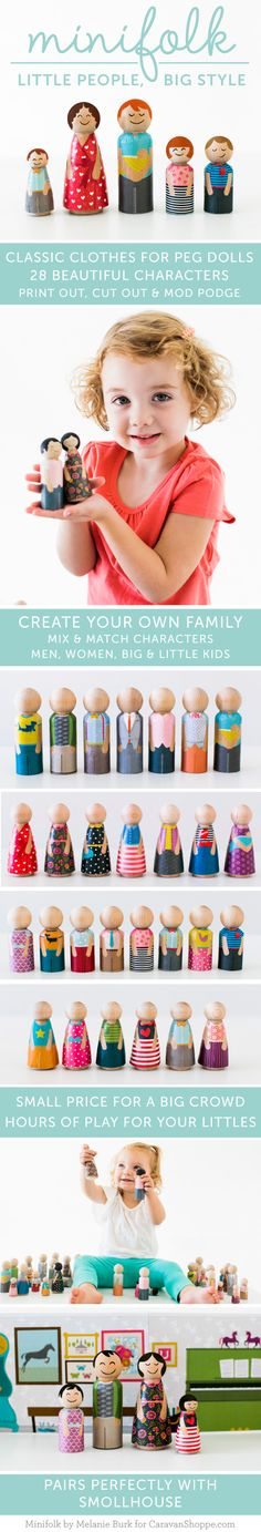Printable clothing for peg dolls! Great way to make your own peg dolls without mad artistic skillz! by Melanie Burk for CaravanShoppe.com!  Photos by Meg Ruth Photo (hey that's me!)