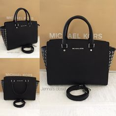 ⚜Michael Kors⚜Selma Grommet Large Pre-loved Selma Grommet purse in Black. It is also size Large which is discontinued and hard to find. Was used several times•In very good condition•No major signs of use.   •AUTHENTIC GUARANTEED•  only $215 on Ⓜ️erc or Viinted  Size: Large Dimensions: 13 x 9.5 x 6 Exterior: black color with silver hardware Interior: MK monogram print fabric. One zippered pocket, four open slip pockets, and a key chain fob  •Comes with an adjustable/removable cross-body strap…