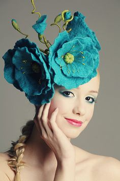 FINAL SALE 30% OFF - Blue Himalayan Poppy fascinator hat with merino wool and chiffon silk