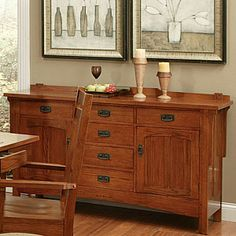 Oak Mission Style Buffet Loft Area Rustic Pine Furniture Wood