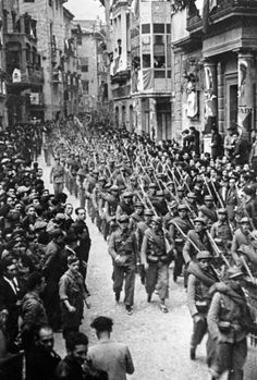 A Mexican auxiliary battalion (fighting on the Republican side) marching through Barcelona during the Spanish Civil War, late 1930s