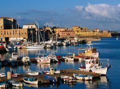 Fishing Boats Moored in Harbour,Hania, Crete, Greece  by John Elk III