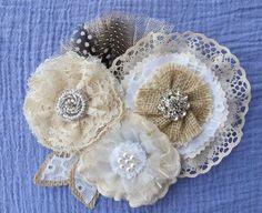 Rustic Burlap Lace Wedding Sash Vintage Floral Pin Belt. $76.00, via Etsy.