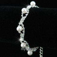 Bridal Wedding White Pearl Rhinestone Bracelet B025