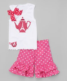 Look what I found on #zulily! White Teapot Tank & Ruffle Shorts - Infant, Toddler & Girls #zulilyfinds
