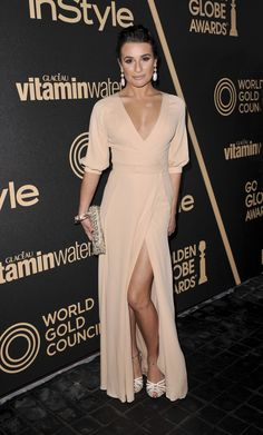 Lea Michele certainly got everyone's attention in this Valentino gown. With its high slit and low V cut neck line it was an surely eye catcher!     She finished off her outfit with Giambattista Valli sandals from the 2013 Spring Collection.     photo by Wenn.com
