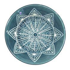 Teal Henna Design Porcelain Bowl