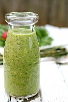 Avocado Citrus Salad Dressing-- avocado, apple cider vinegar, honey, lime juice, garlic, cilantro, jalepeno, water, salt and pepper. That's it!