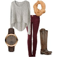 maroon skinny jeans, high brown boots, grey high low knit sweater, light mustard infinity scarf. by Anneliese