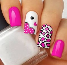 Uñas Fall Nails fall nails off white Fabulous Nails, Perfect Nails, Gorgeous Nails, Pretty Nails, Pink Nail Art, Pink Nails, Pink Leopard Nails, White Nails, Valentine Nail Art