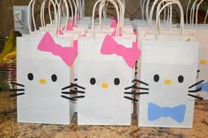 Hello Kitty birthday party favor bags- girl and boy and like OMG! get some yourself some pawtastic adorable cat shirts, cat socks, and other cat apparel by tapping the pin! 6th Birthday Parties, Birthday Crafts, Birthday Party Favors, Girl Birthday, Birthday Ideas, Diy Hello Kitty Birthday Party Ideas, Hello Kitty Theme Party, Themed Parties, Birthday Presents
