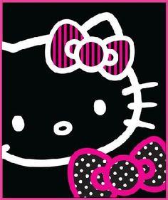 HELLO KITTY BOWS BLACK FLEECE BLANKET/THROW   Preorder   free s/h