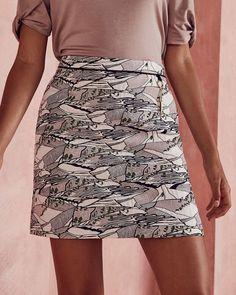 Ted Baker Landscape jacquard skirt Light Grey