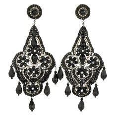 Miguel Ases Onyx and Crystal Earrings