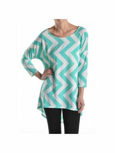 Light Blue and White Chevron Print Hi-Lo Tunic Top