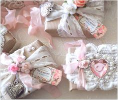 Gift box w/lace, ribbons, flowers & hanging heart