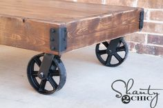 how-to-build-a-factory-cart-coffee-table Plans available for this and many other projects Coffee Table With Casters, Cart Coffee Table, Simple Coffee Table, Coffee Table Plans, Easy Coffee, Do It Yourself Furniture, Diy Furniture Plans, Furniture Projects, Country Furniture
