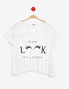 Tee-shirt évasé imprimé écru femme • Jennyfer