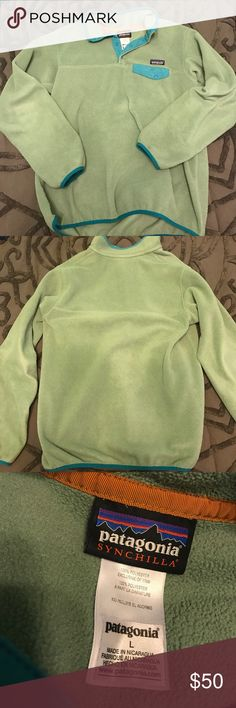 Patagonia Pull Over Light olive green colored fleece with turquoise trim. Size women's large. Patagonia Jackets & Coats