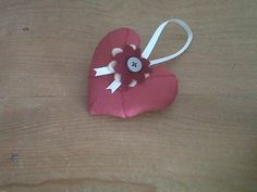 Red Silk Heart favourChristmas decoration Home by blueberryfudge, £4.99