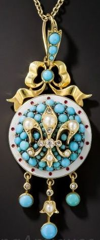 Victorian, Turquoise, Seed Pearl and Enamel, Fleur de Lys Necklace