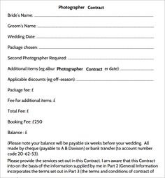 Photography Contract   7 Free PDF Download | Sample Templates