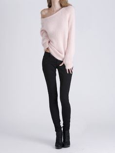 Off-the shoulder angora sweater.  Make it white, with a thicker collar and you've got heaven on a rainy day.