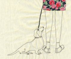 Spotted: Dog-Themed Embroidery by Sarah Walton - Dog Milk Dog Milk, Spotted Dog, Art Textile, Dachshund Love, Sewing Art, Baby Dogs, Doggies, Cat Design, Fabric Art