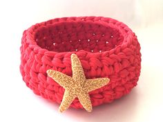 Crochet Basket with Starfish by MidnightandMagnolias on Etsy