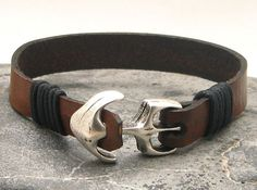 FREE SHIPPING Men's leather bracelet Brown leather cuff nautical men's bracelet with silver plated anchor clasp