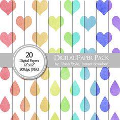SALE 20 Digital Paper Pack heart design Rain drop by rueastyle