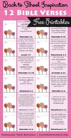 Back to School Inspiration -12 Bible Verses {Free Printable} :: It's back to school season! Here is some back to school inspiration through 12 Bible verses as you gear up for another school year. :: todaysfrugalmom.com