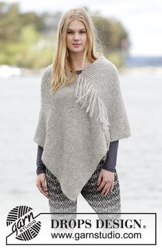 Knitted DROPS poncho in garter st with fringes in 2 strands Brushed Alpaca Silk or 1 strand Melody. Free knitting pattern by DROPS Design. Poncho Shawl, Knitted Poncho, Knitted Shawls, Crochet Shawl, Knit Crochet, Crochet Vests, Crochet Cape, Crochet Edgings, Crochet Motif