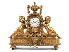 Höhe: 56,5 cm. Breite: 67 cm. Tiefe: 23 cm. Frankreich, um 1860. WERK… Rococo, Baroque, Cherubs, Objet D'art, Louis Xvi, Cupid, Clocks, Art Nouveau, Two By Two