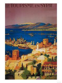Syria - French Travel Poster, Touring in Syria Kunstdruk