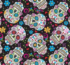 Skulls Sugar Day Of The Dead Flowers On by fabricandfeltstudio