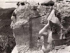 Date 1939. The construction of Mt. Rushmore.
