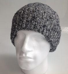Mens Grey Marl 63% Wool Aran Beanie Hat  - Hand Knitted in Scotland by sewmoira on Etsy