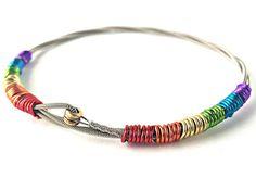 Guitar string bracelet. Rainbow jewelry. Charity bracelets. Upcycled jewelry. LGBT awareness. Eco friendly jewelry. Free Shipping