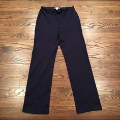 Coldwater Creek Navy Classic Fit Pants These pants were my mom's and are a Classic fit that would probably fit a 10-12 dress size on the bottom. They are going to be a little longer because of the tall genes we have in my family. Very comfy, everyday wear and in great shape!!! Coldwater Creek Pants Jumpsuits & Rompers
