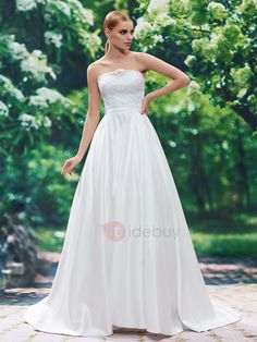 Tidebuy.com Offers High Quality Simple Strapless Lace Sweep Train A Line Wedding Dress, We have more styles for Wedding Dresses 2016