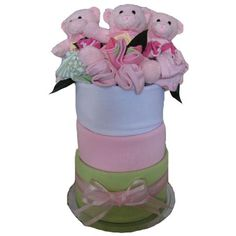 Triplets Nappy Cake baby girls #twinsnappycakes #multiplebirthgifts
